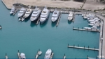 Aerial view of the yacht basin and floating docks