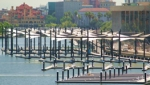 View of floating docks in the marina