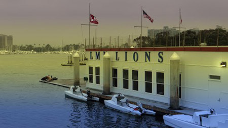 The LMU boathouse sits on a floating platform and features a low freeboard dock on the front of the building for launching shells.