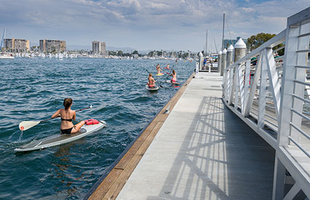 The public floating docks at Burton Chace Park provide easy access to Marina del Rey's waters for indivudals with human powered watercraft