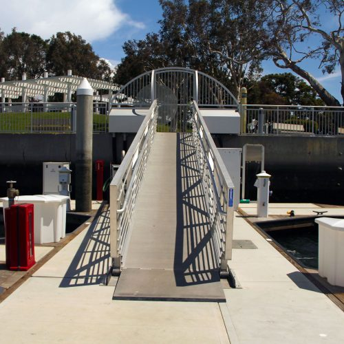 The custom gangway provides an upscale appearance to the marina.