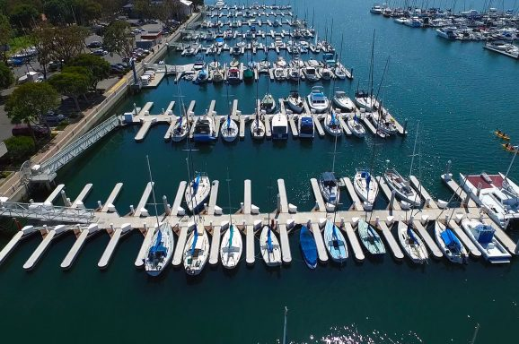 The marina features 266 berths, all with full utilities and rounded finger ends.