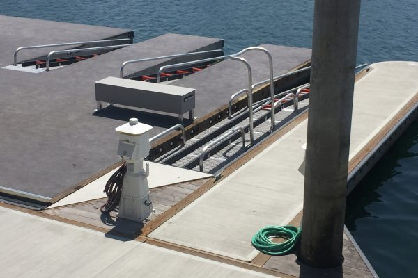 Specially designed paddle boat dock in Marina del Rey provide kayakers safe water access.