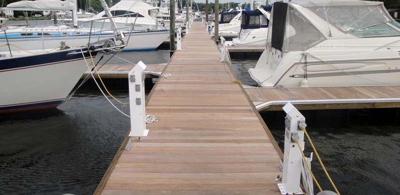 Timber dock system at Brewer's Greenwich Bay Marina