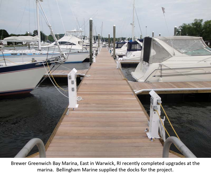 Timber dock system at Brewer's Greenwich Bay Marina