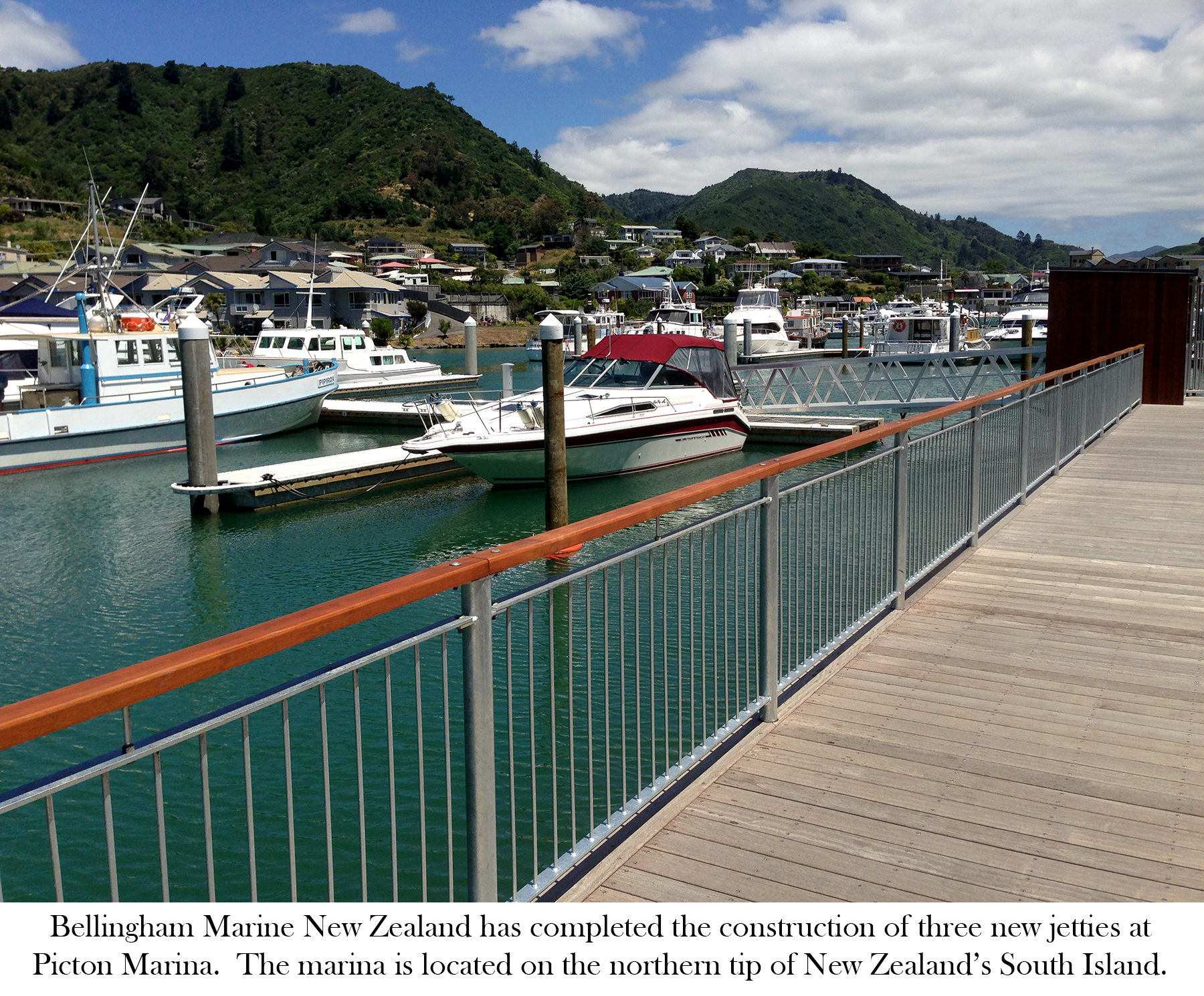 The new dock system at Picton Marina features Bellingham's concrete pontoons