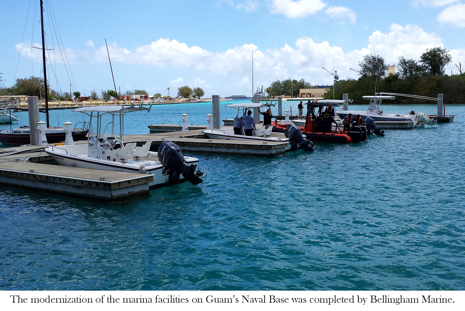 The marina at Sumay Cove features concrete floating docks