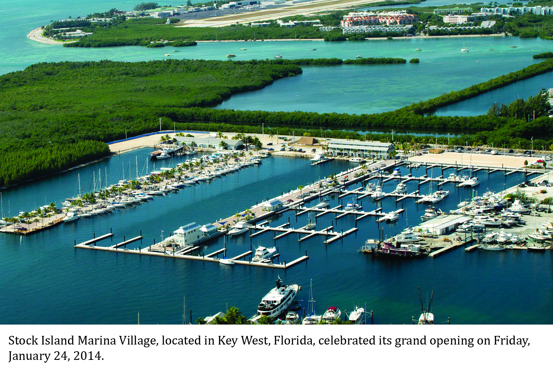 Aerial view of Stock Island Marina's concrete docks