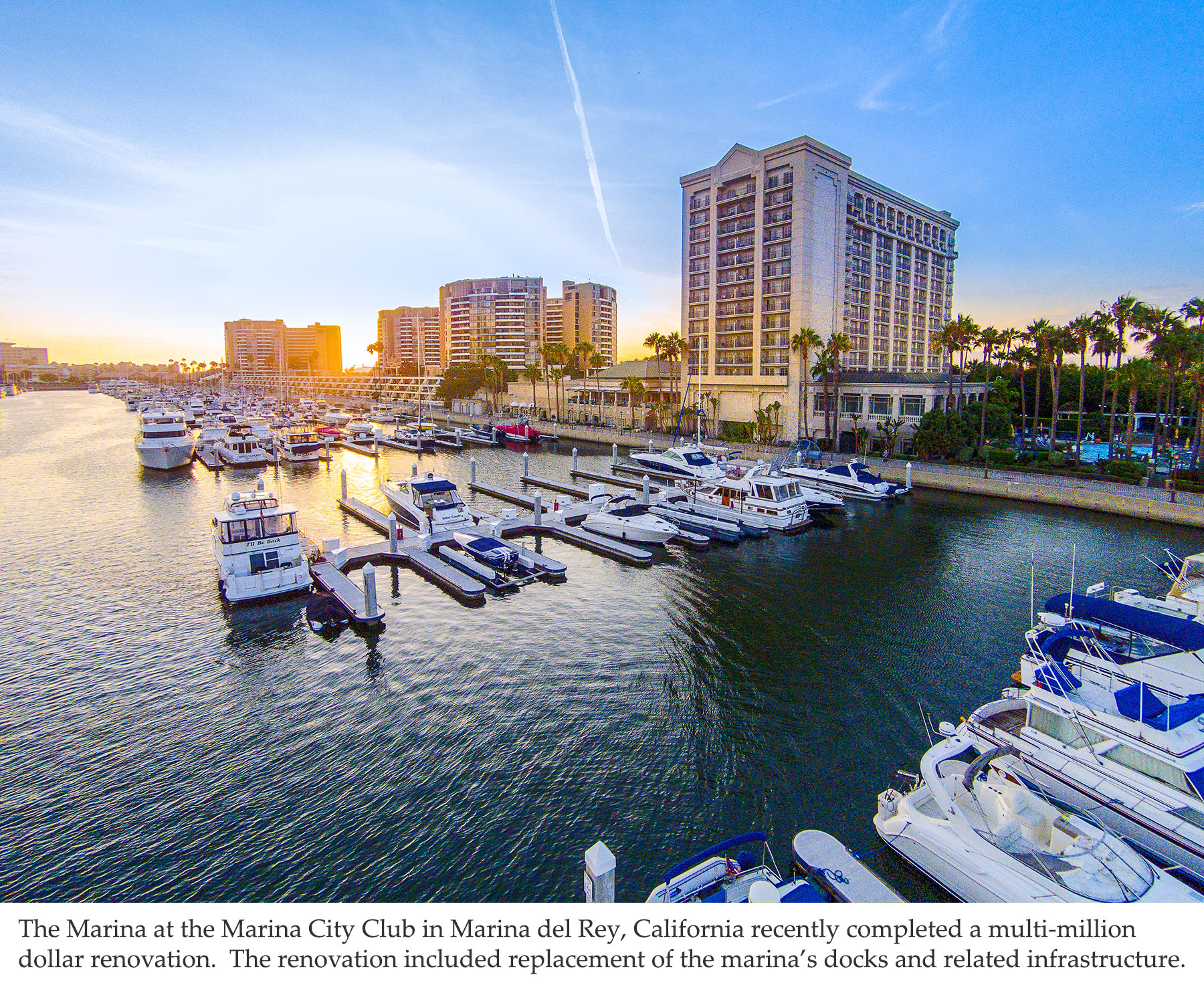 The Marina at the Marina City Club recently upgraded their dock system to included concrete floating docks from Bellingham Marine
