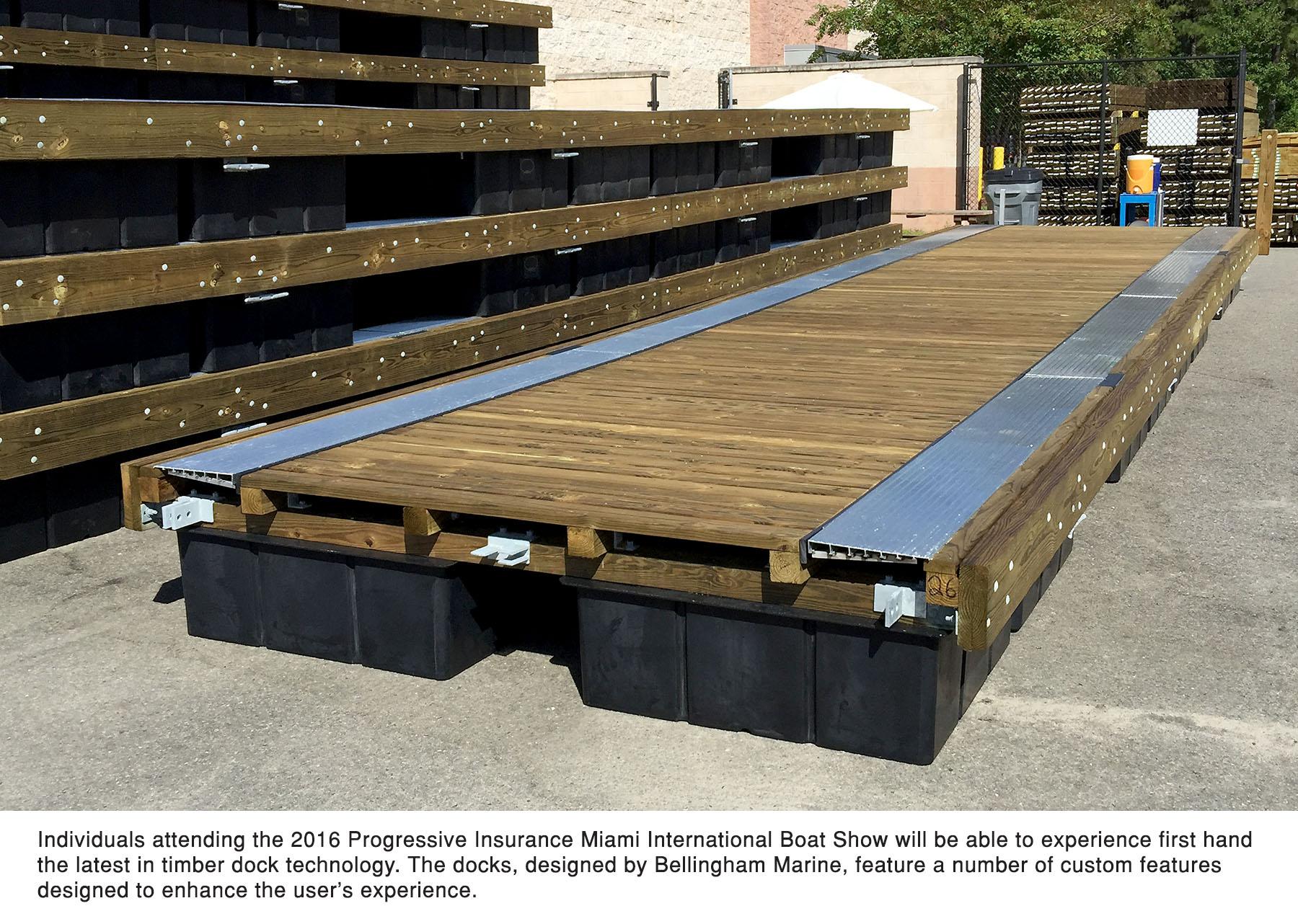 Bellingham Marine designed a custom wood dock for the Miami International Boat Show