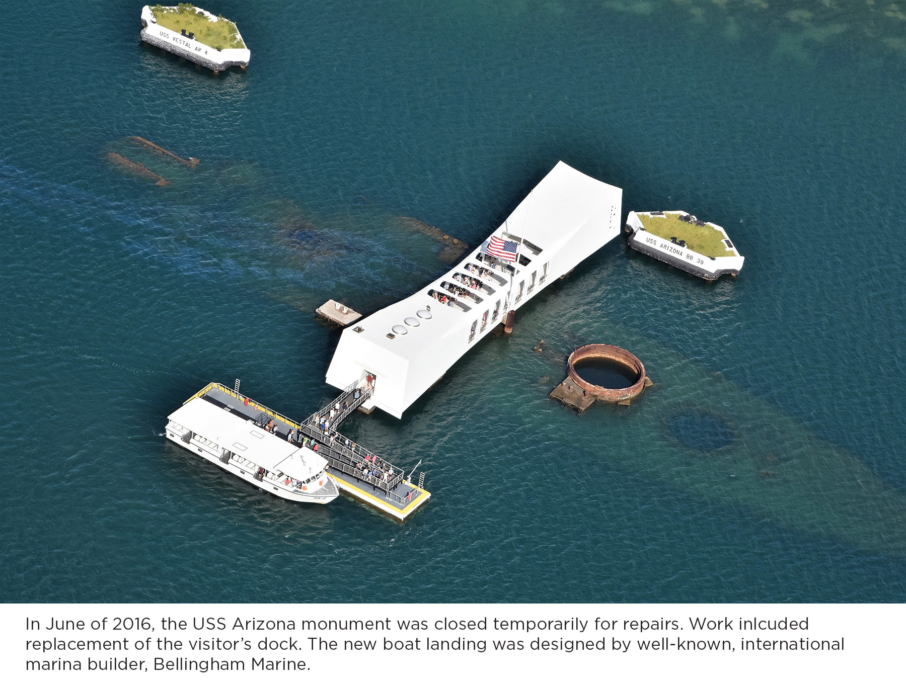 In June of 2016, the USS Arizona monument was temporarily closed for repairs. The new landing platform was designed by Bellingham Marine using modular concrete pontoons.