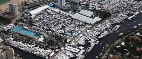 Aerial of Bahia Mar Yachting Center, home to the Ft Lauderdale Boat Show. Built by Bellingham Marine