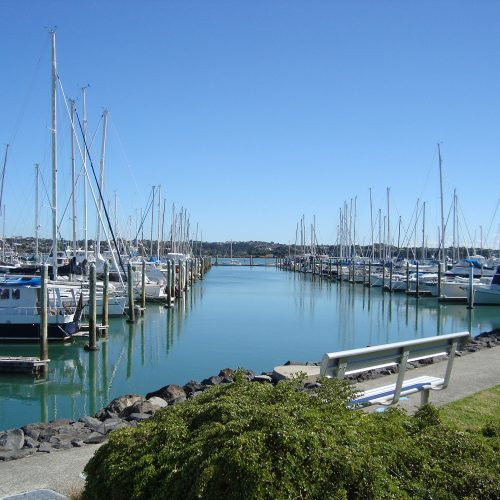 The marina offers scenic views of the surrounding area.