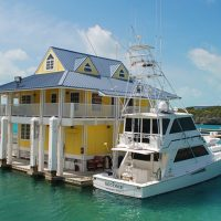 2-story floating building on Cave Cay