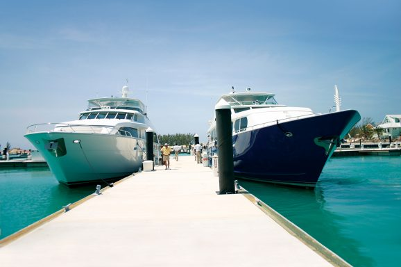 The Unifloat floating concrete docks are perfect for the moorage of large yachts.