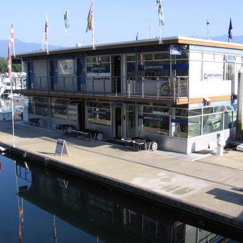 The marina features a two story floating building that houses the ships store, laundry, showers, restrooms and the harbormaster's office.