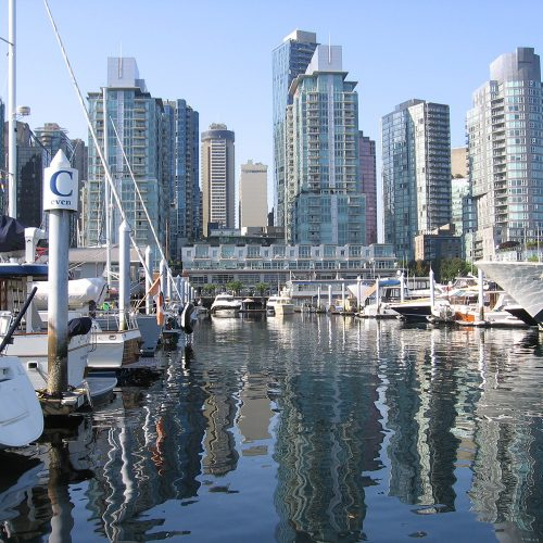 Coal Harbour is located in the heart of Vancouver, B.C., a vibrant area on the Pacific Coast.