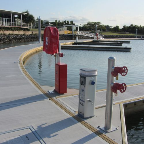 Each berth is equipped with power, water, sewer pump out and fire suppression systems.