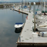 Unibolt concrete docks with doug fir rub board