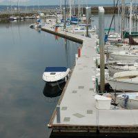 Unibolt concrete docks with doug fir rub board