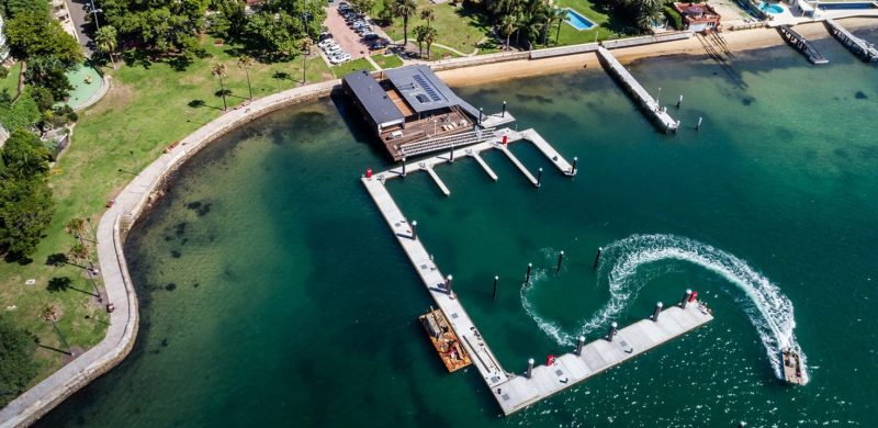 The skirted attenuator protects the marina from wave action.