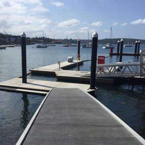 Grated decking encourages light penetration and the growth of seagrass.