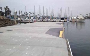 The Channel Islands Community Association launch dock shows notches cut into the platform.