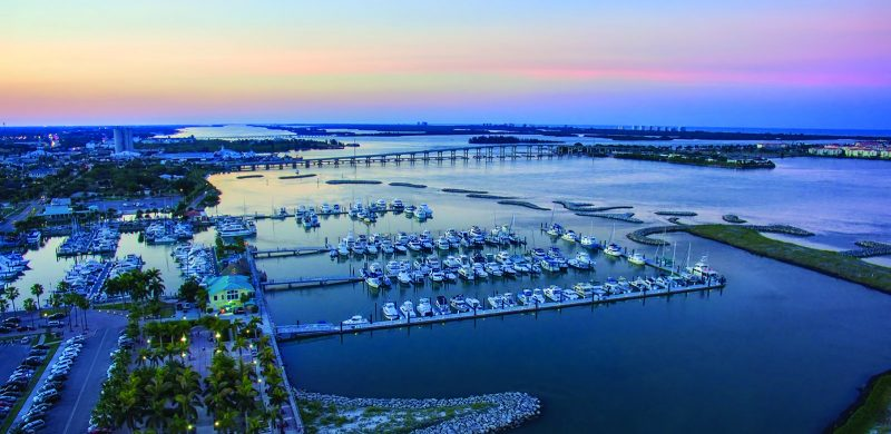 13 barrier islands were built around the marina to protect it from hurricane damage.