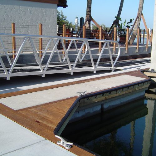Modern gangways add sophistication to the marina.