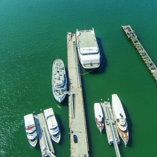 Floating platforms serve as ideal landing docks for commercial vessels.