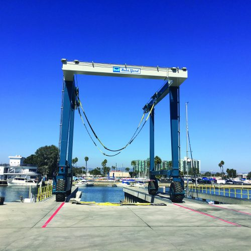 The travel-lift pier allows vessels to be lifted out of the water and either be stored or serviced.