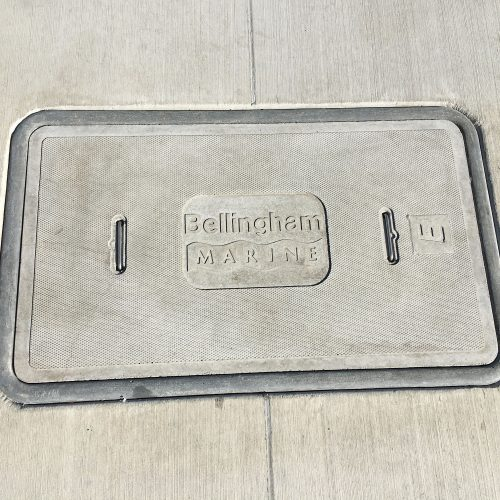 Concrete imprinted junction box lids.
