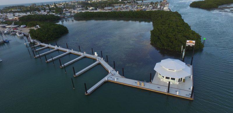 Marathon Marina floating marina store, fuel dock and Unifloat floating docks