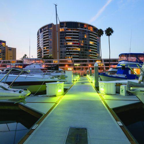 Unique dock box lighting on Unifloat concrete docks.