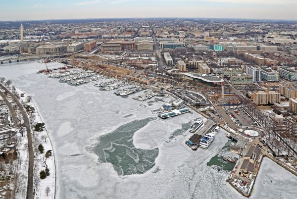 The docks at the Wharf are surrounded by bubblers to keep ice from forming against the docks.
