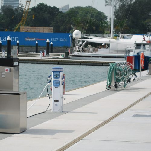 Floating fuel dock.