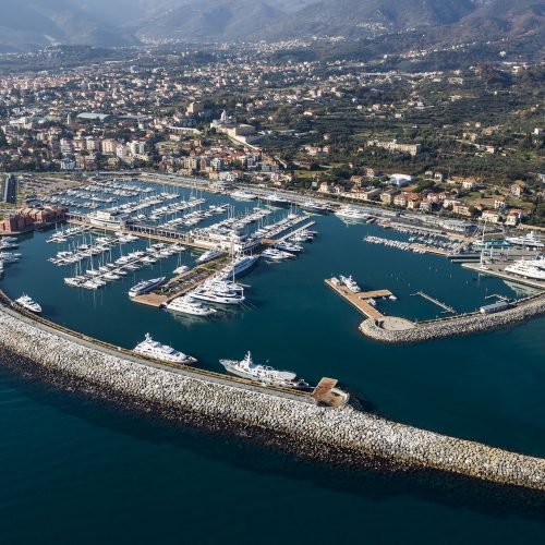 The marina is located on the shore of Loano, Italy.