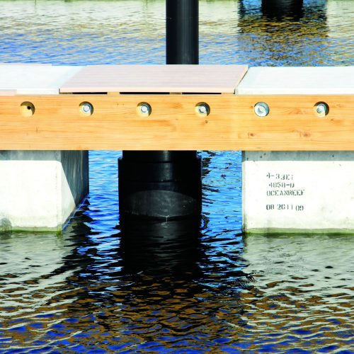 Telescoping pile are designed to stay below the dock at all times.