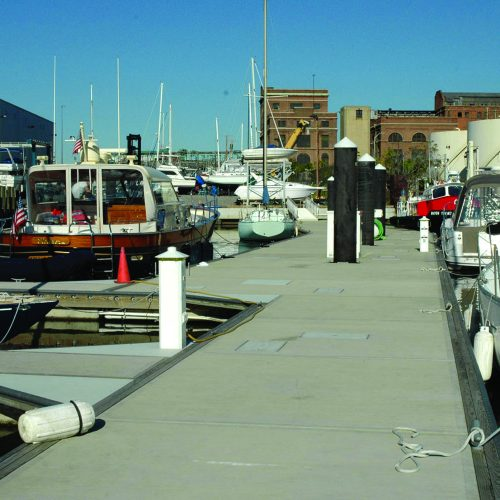The marina serves as a commercial port as well as housing a well known yacht service center.
