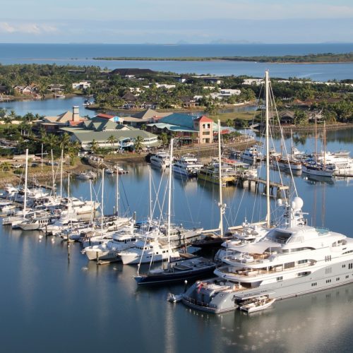 The marina offers a range of services including repair and commercial barge services.