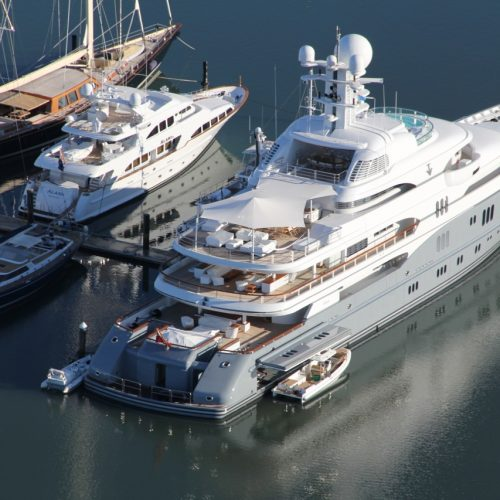 Accommodations are available for superyachts up to 65 metres.