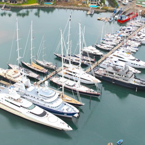 The Unifloat jetty added 46 transient berths to the marina, including superyacht moorage.