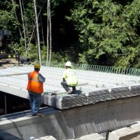 Precast concrete slab bridge decks.