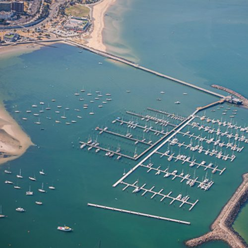 The marina features a 140 m wave attenuator.