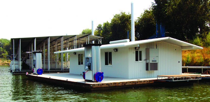 A match-cast floating platform with stamped decking holds up the floating marina store.