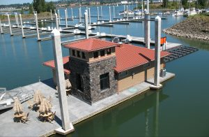 Floating structure platform with stamped deck