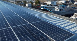 Solar power panels at Marine Group Boat Works in San Diego, estimated to result in an 81% reduction in annual electricity consumed.
