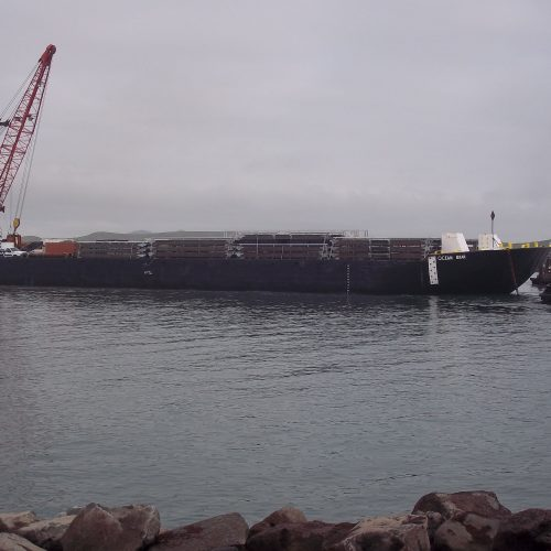 All materials were prefabricated and shipped by barge to the small, remote island.