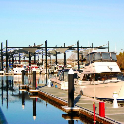 The marina has 1,400 feet of side-tie moorage.