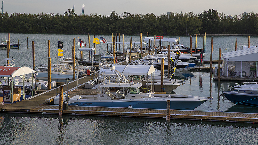 Temporary marina built with portable wood docks